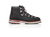 Moncler Men's Oiled Suede Hiking Boots Black Grey