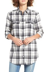 Women's Bp. Plaid Flannel Shirt Ivory Piper Plaid