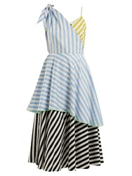 Anna October Contrast Striped Cotton Dress Blue Stripe