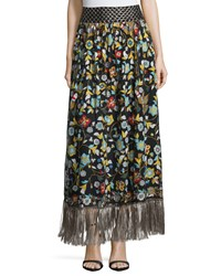 Alice Olivia Kamryn Floral Fringe Trim Maxi Skirt Black Multicolor Multi Colors
