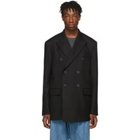 Wooyoungmi Black Wool Double Breasted Blazer
