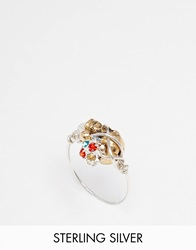 Katandbee Kat And Bee Wrapped Skull Ring With Swarovski Bead 925Sterlingsilver