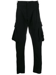 Masnada Pinstriped Cargo Trousers Black