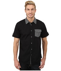 Dkny Short Sleeve Woven Jersey Blocked Shirt Casual Wash Black Men's Short Sleeve Button Up
