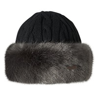 Barts Faux Fur Cable Bandhat One Size Dark Grey