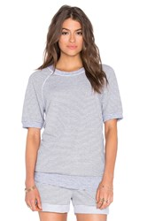 Stateside Skinny Heather Grey Stripe French Terry Short Sleeve Top Gray