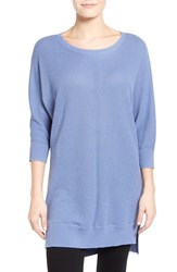 Women's Caslon Novelty Stitch Dolman Sleeve Tunic Sweater Blue Colony