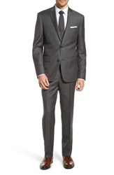 Nordstrom Big And Tall Men's Shop Trim Fit Sharkskin Wool Suit Mid Char