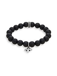 King Baby Studio Onyx And Sterling Silver Beaded Cross Charm Bracelet Black