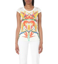Karen Millen Paradise Print Jersey And Chiffon Top Multi Coloured