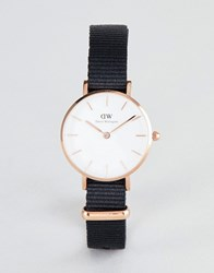 Daniel Wellington Petite Cornwall Watch In Rose Gold With Canvas Strap 28Mm Black