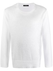 Unconditional Metallic Look Knitted Jumper White