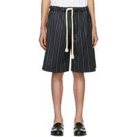Loewe Navy And Green Striped Shorts