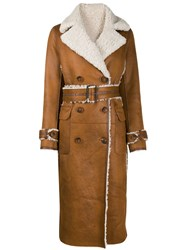 Urbancode Belted Leather Effect Coat Brown