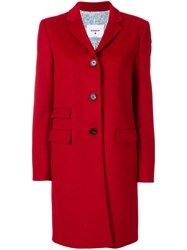 Dondup Fitted Button Up Coat Polyester Cashmere Wool Red