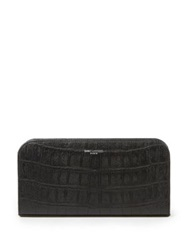 Saint Laurent Crocodile Embossed Zip Continental Wallet Black