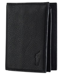 Polo Ralph Lauren Wallet Pebbled Bifold Wallet With Window Black