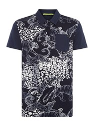 Versace Men's Jeans All Over Tiger Print Polo Shirt Navy