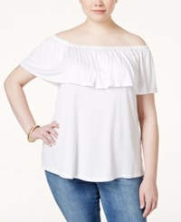 Ing Plus Size Off The Shoulder Ruffled Top White