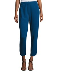Joan Vass Ponte Ankle Pants Azure Blue