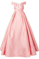 Reem Acra Off The Shoulder Pleated Mikado Gown Pastel Pink