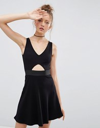 Asos Mini Cut Out Elastic Waist Skater Dress Black