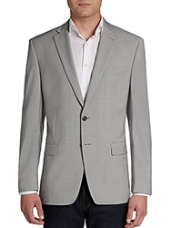 Calvin Klein Slim Fit Small Checked Stretch Wool Blend Sportcoat Grey