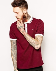 Merc Polo Shirt With Checkerboard Collar Red