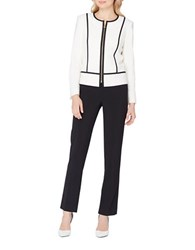Tahari By Arthur S. Levine Petite Lynn Two Piece Contrast Piped Jacket And Solid Pants Suit Ivory