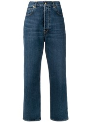 Golden Goose Deluxe Brand High Waisted Wide Leg Jeans Blue