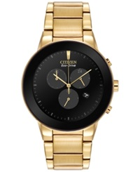 Citizen Men's Chronograph Axiom Eco Drive Gold Tone Stainless Steel Bracelet Watch 43Mm At2242 55E