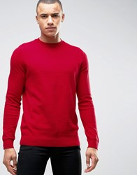 New Look Jumper With Skinny Rib Neck In Red Bright Red
