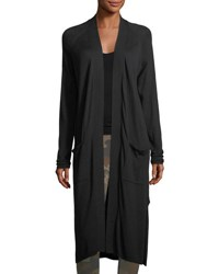 Matty M Long Open Front Patch Pocket Cardigan Black