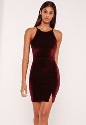 Missguided 90'S Neck Split Hem Velvet Bodycon Dress Burgundy