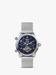 Ingersoll I00905 'S The New England Automatic Chronograph Date Heartbeat Mesh Bracelet Strap Watch Silver Blue