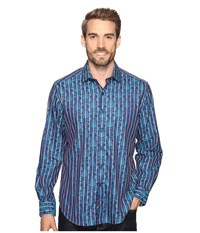 Robert Graham Caravaggio Long Sleeve Woven Shirt Steel Men's Clothing Silver