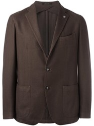 Tagliatore Two Button Blazer Brown