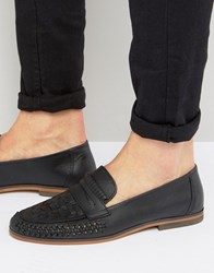 Asos Loafers In Woven Black Leather Black