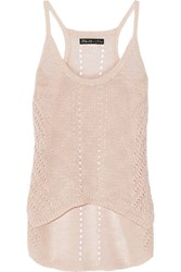 Elizabeth And James Slouchy Crochet Knit Linen Blend Tank