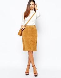 Warehouse Real Leather Suede Mini Skirt Tan