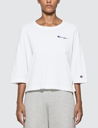 Champion Reverse Weave Back Script Oversized Cropped T Shirt White
