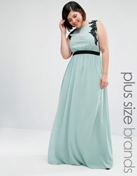 Little Mistress Plus Sleeveless Maxi Dress With Embroidered Detail Green
