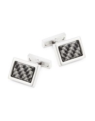 Kenneth Cole Woven Rectangular Cuff Links Silver Charcoal