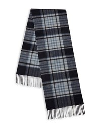 Black Brown Fringed Plaid Cashmere Scarf Navy White