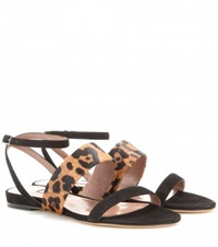 Tabitha Simmons Orla Leopard Suede And Pony Skin Sandals Black