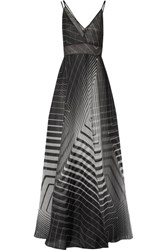 Lela Rose Layered Printed Silk Organza Gown Black