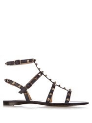 Valentino Rockstud Flat Leather Sandals Black