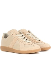 Maison Martin Margiela Replica Leather And Suede Sneakers Beige