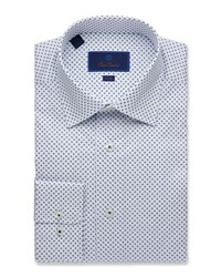 David Donahue Trim Fit Geometric Pattern Dress Shirt Multi