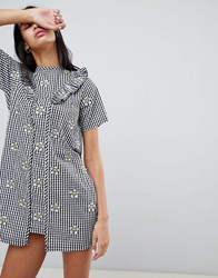 Lazy Oaf Gingham Dress With Floral Embroidery Black
